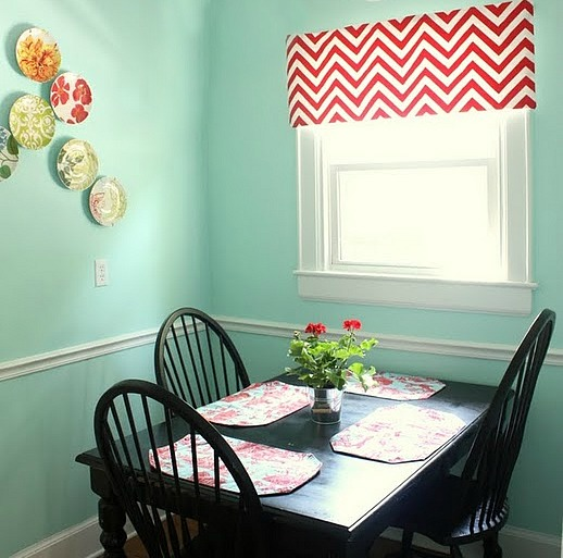 Painting a Chevron Curtain & Breakfast room details via Nest of Posies