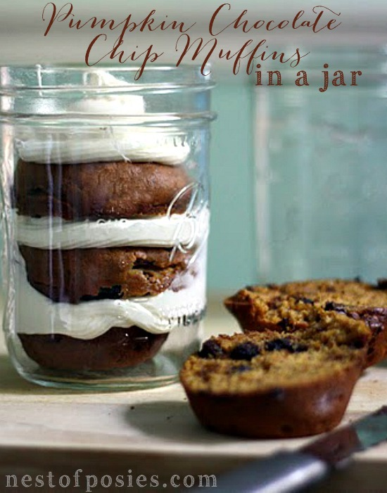 Pumpkin Chocolate Chip Muffins in a Jar!  With cream cheese frosting...oh my!  via Nest of Posies