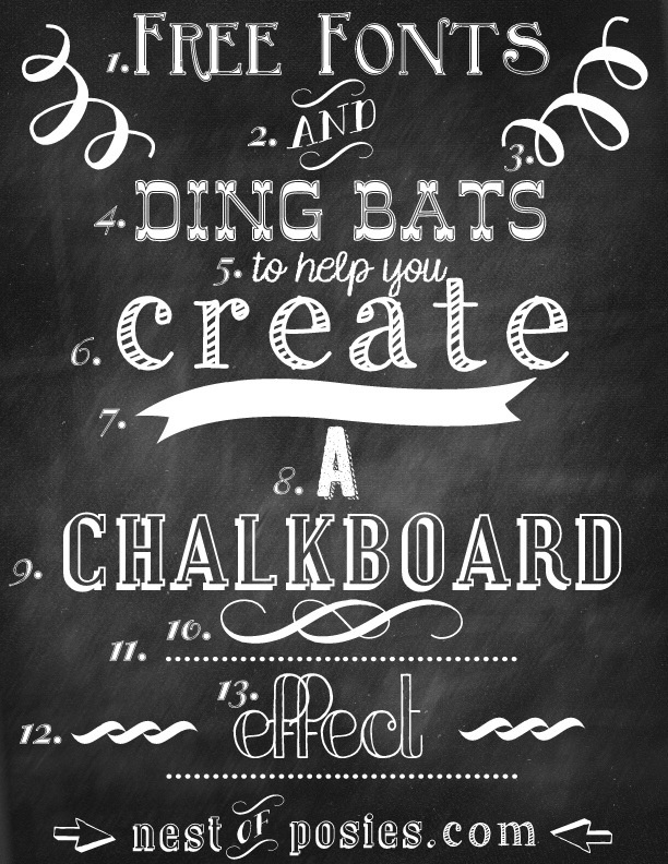 Free chalkboard fonts dingbats photoshop not required Cute font generator free