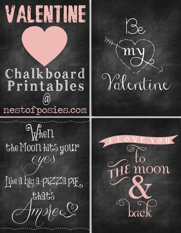 Valentine #Chalkboard #Printables via Nest of Posies #Valentines