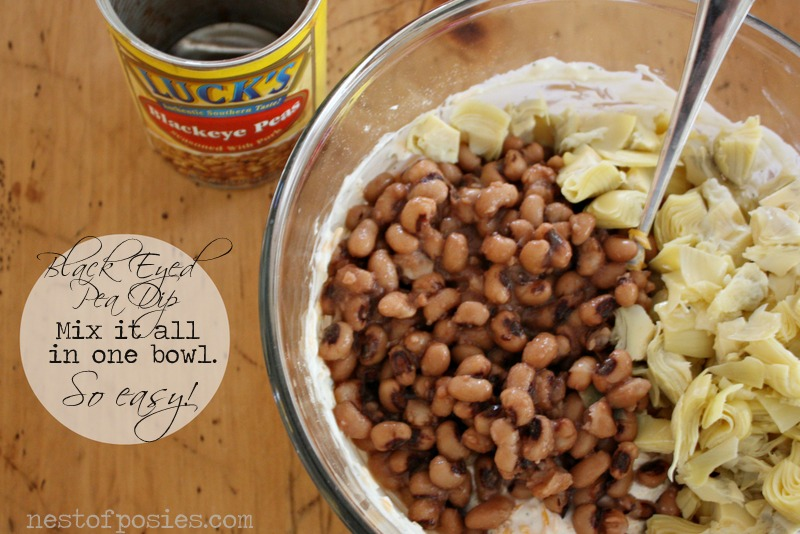 Dump & Mix Everything in one bowl - Warm & Amazing Black Eyed Pea Dip