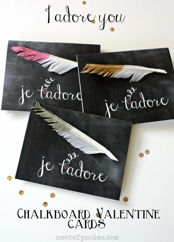 je t'adore Valentine Chalkboard Cards via Nest of Posies #printable