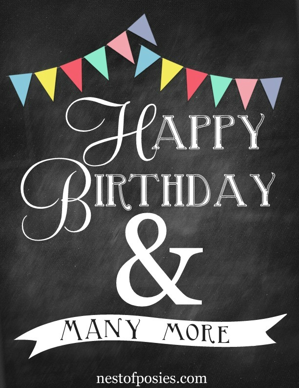 happy birthday chalkboard printables nest of posies