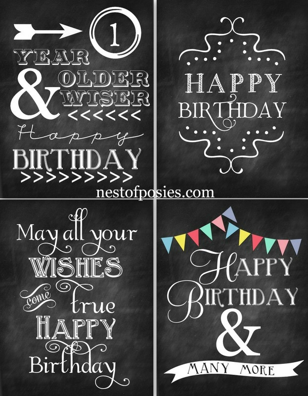 Happy Birthday Chalkboard Printables Via Nest Of Posies
