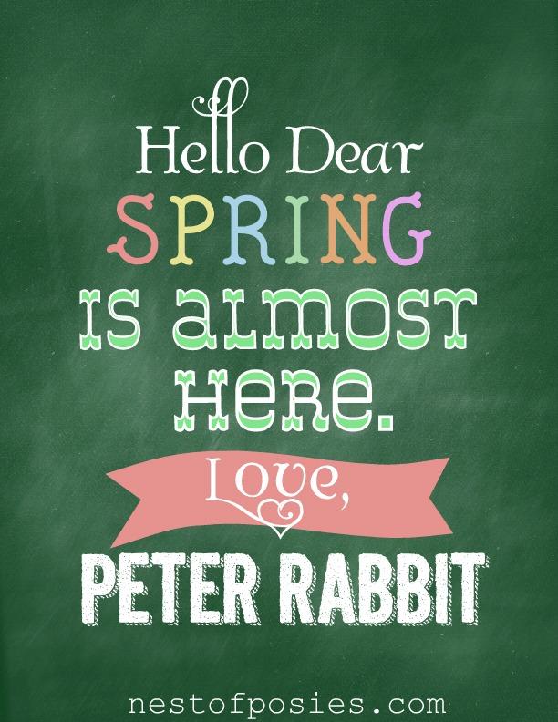 Hello Dear Peter Rabbit #Chalkboard Printable via @NestofPosies