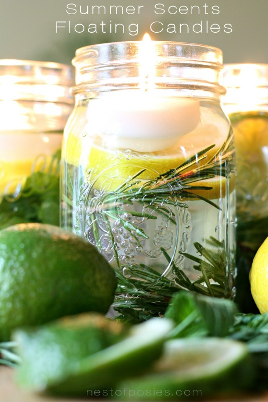 Summertime floating candles with citronella via Nest of Posies