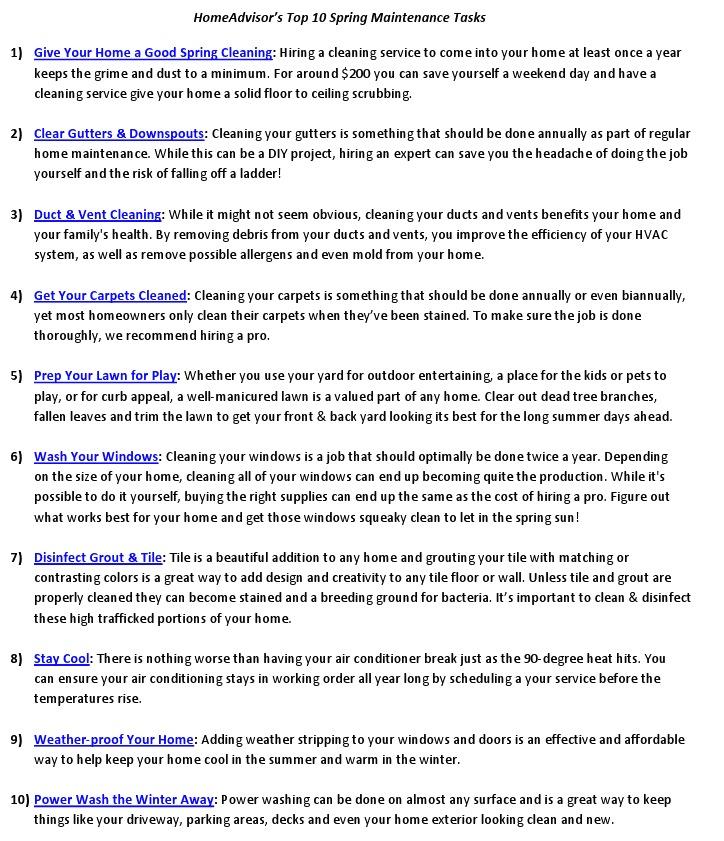 Top 10 Spring Maintenance Tasks from HomeAdvisor via Nest of Posies
