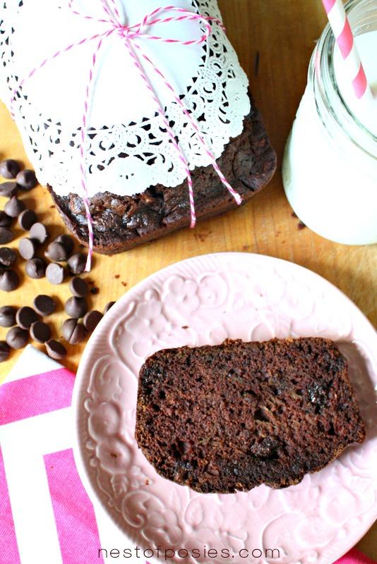 Decadant Chocolate Zucchini Bread via Nest of Posies