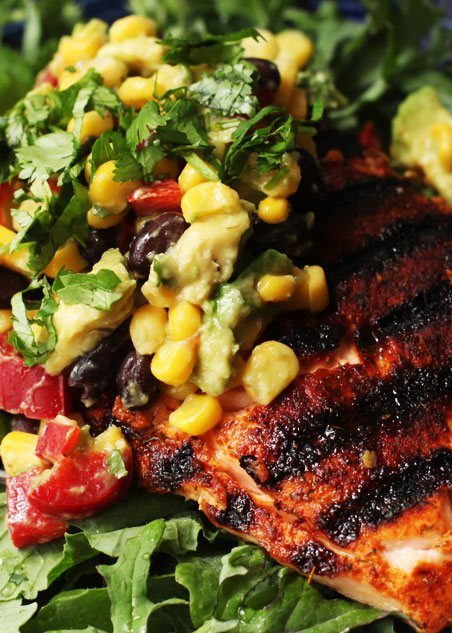 Corn Salsa over Grilled Salmon