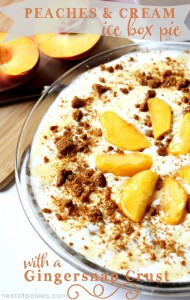 Peaches and Cream Ice Box Pie with a Gingersnap Crust