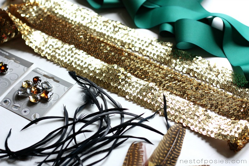 Ribbon, Sequins, Feathers & Trinkets to make a Pantone Green Fall Feather Wreath