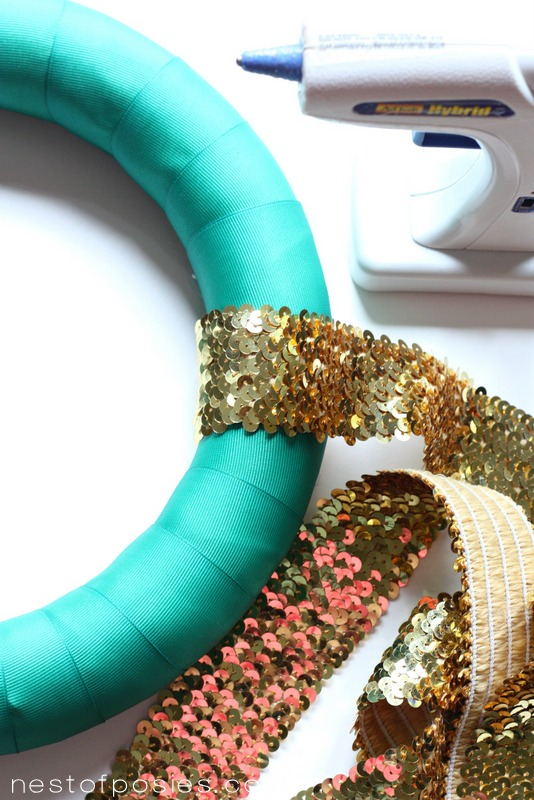 Pantone Green and Gold Sequin Wreath