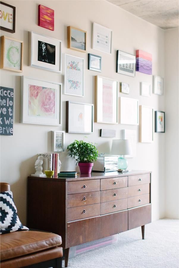 Large gallery wall - all various size frames