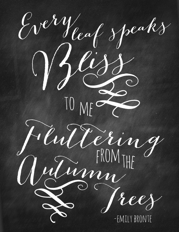 every leaf speaks bliss chalkboard quote via nest of posies - Halloween Quotes And Phrases