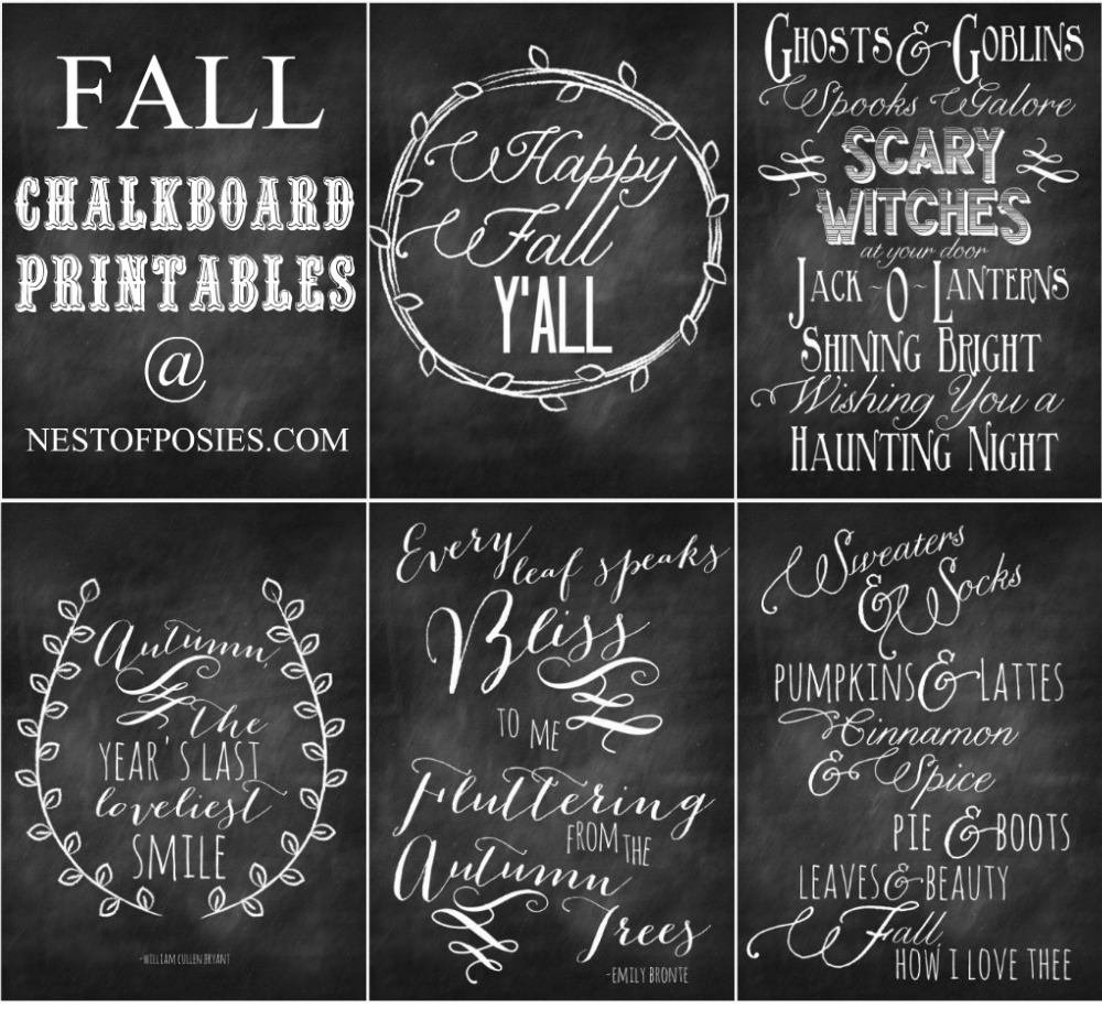 Fall and halloween chalkboard quote printables for Decoration quotation sample