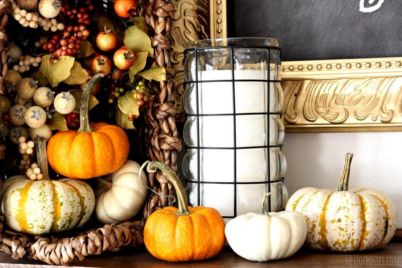 Fall Harvest Mantel via Nest of Posies
