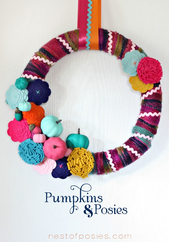 Pumpkins and Posies Fall Wreath via Nest of Posies