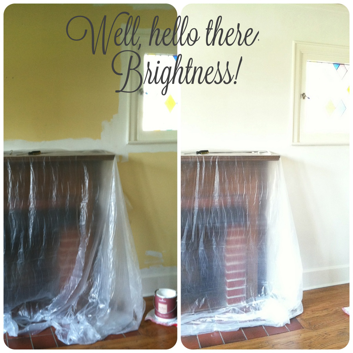 before & after mantel wall