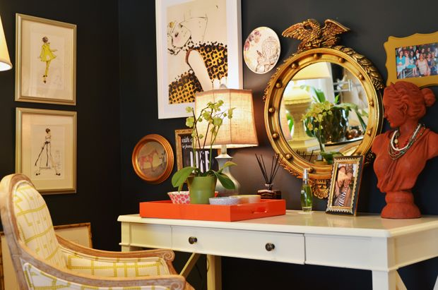 Dark walls with eclectic art from Life in Grace