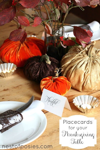 Easy Placecards for your Thanksgiving Table