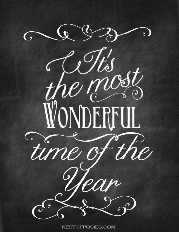 It's the Most Wonderful Time of the Year - Chalkboard Printable