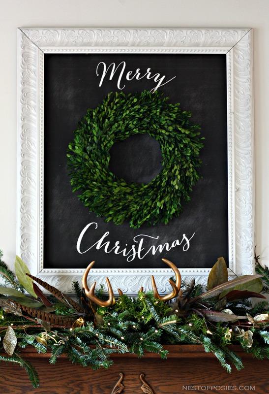 Merry Christmas Chalkboard Mantel