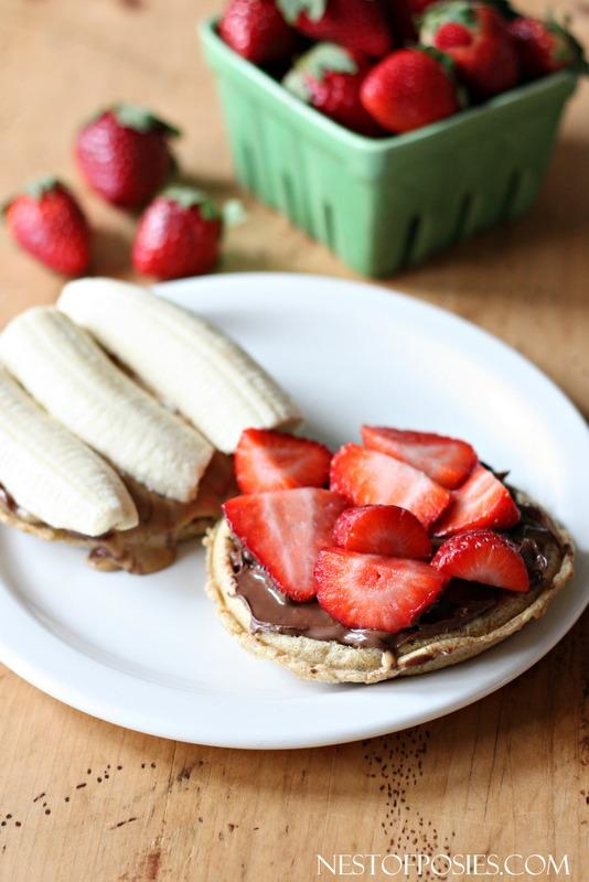Nutella Strawberry Banana Grilled Waffle Sandwich