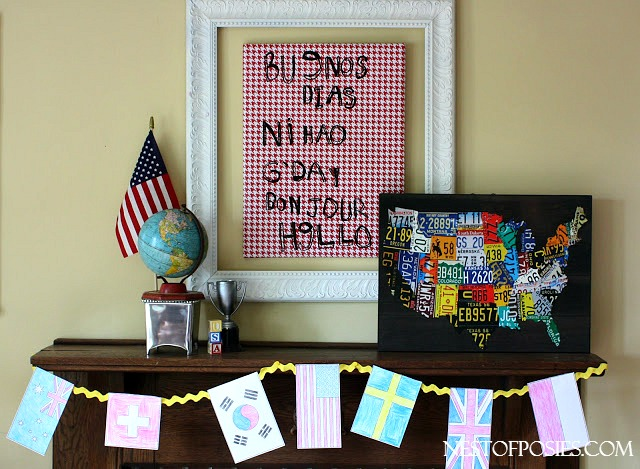 Olympic Mantel with flag coloring pages bunting