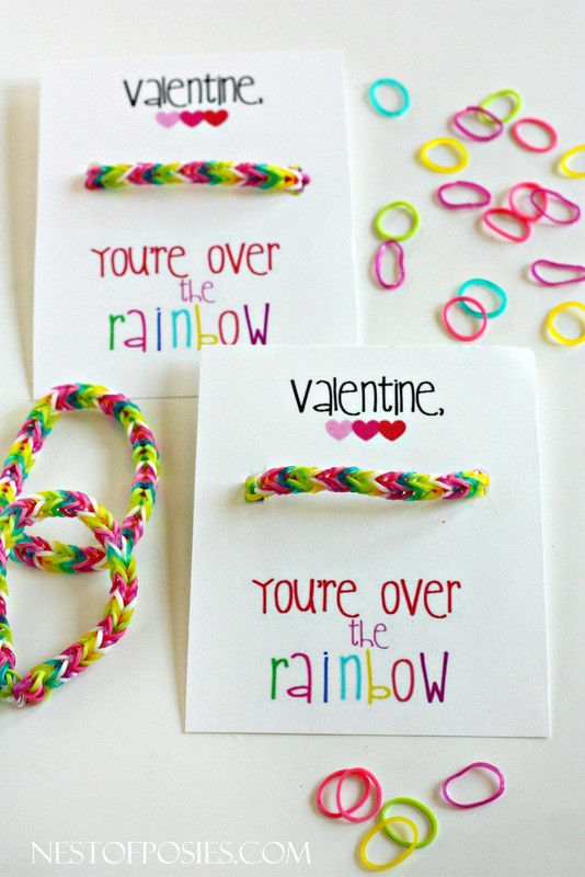 Over the Rainbow Loom Bracelet Valentine
