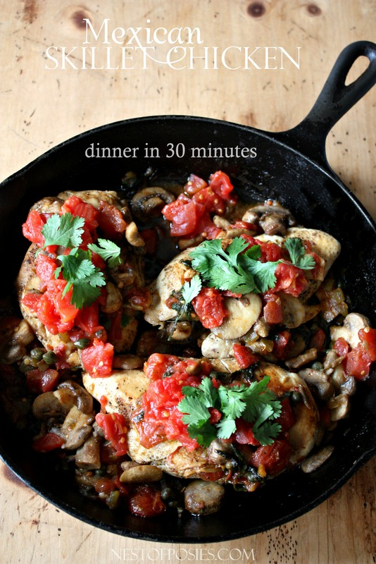 Dinner in 30 minutes.  Mexican Skillet Chicken