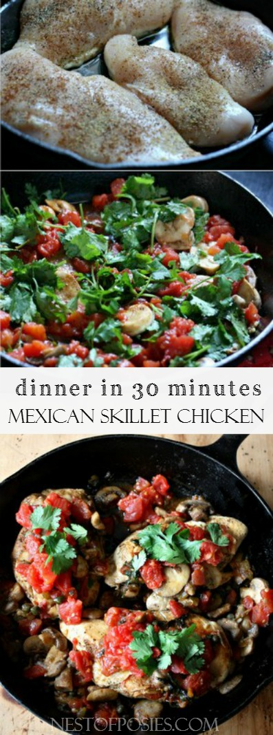 Mexican Skillet Chicken.  A healthy dinner made in 30 minutes
