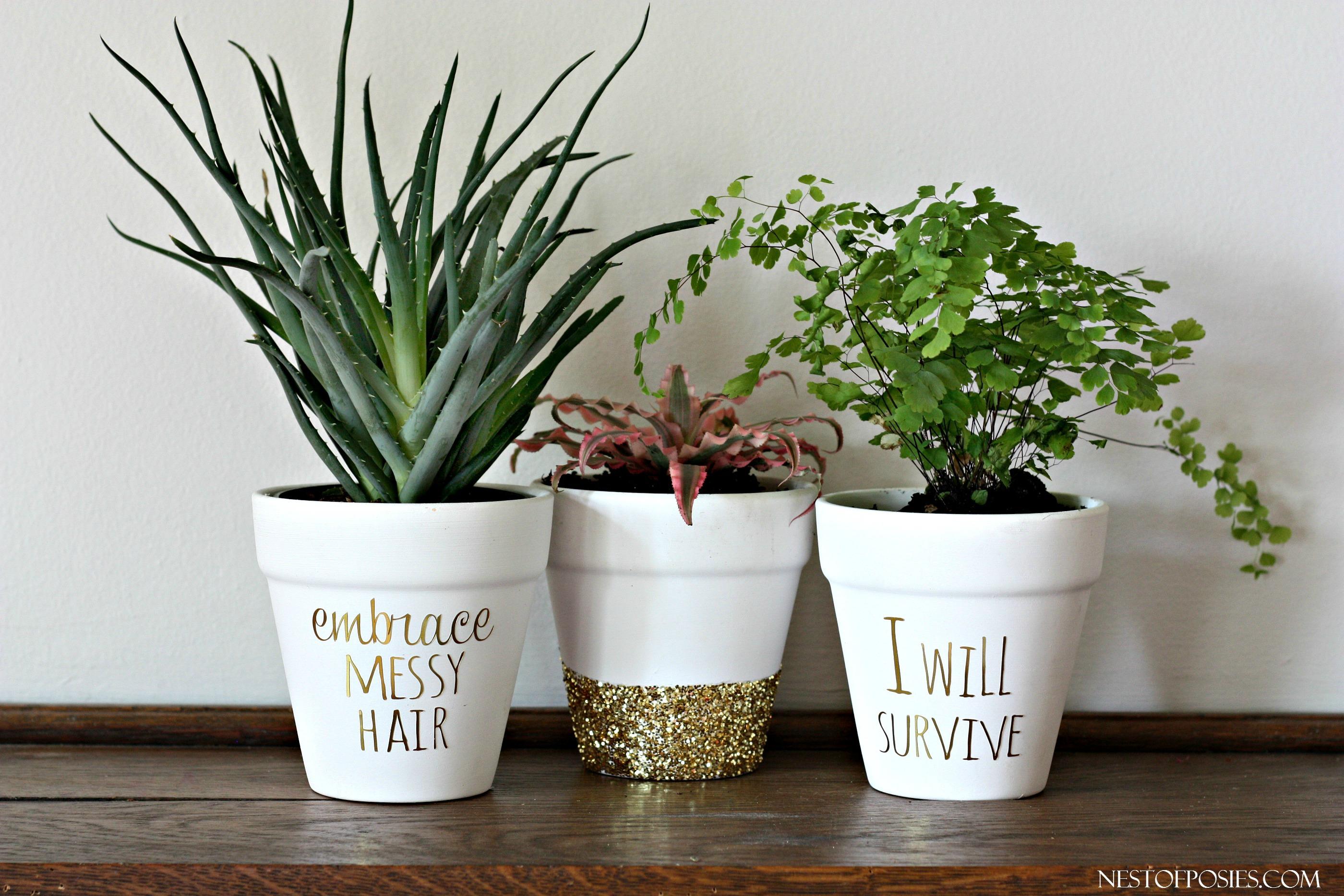 & DIY Gold Foil Lettering on Flower Pots