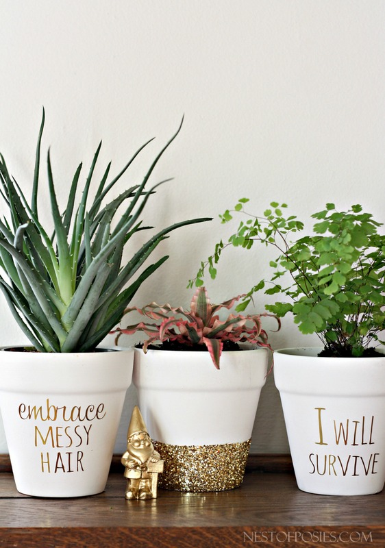 diy gold foil lettering on flower pots. Black Bedroom Furniture Sets. Home Design Ideas