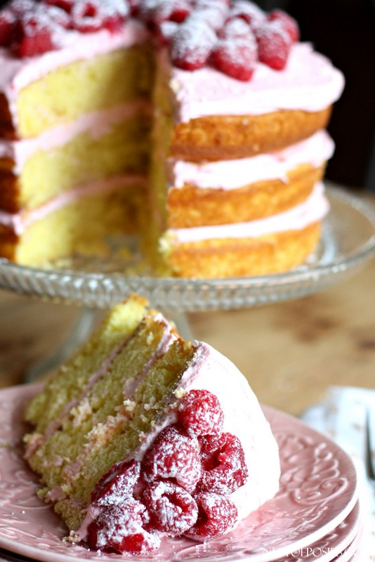 Lemon Raspberry Cake.  Made with a cakemix but has the most delicious homemade Raspberry Buttercream Topping