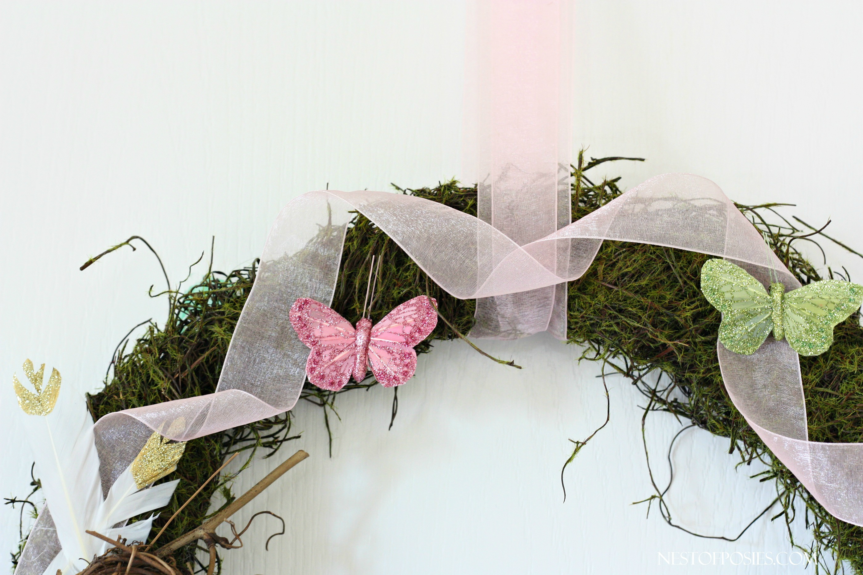 Spring Forest Wreath full of ribbon and butterflies