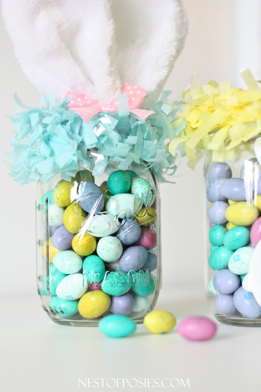 speckled Easter eggs in mason jars