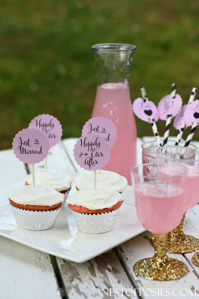 Bridal Shower or Wedding Printable Cupcake and Drink Toppers