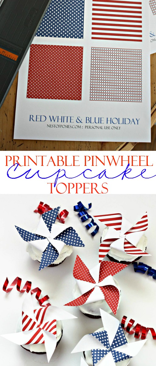 Printable Pinwheel Cupcake Toppers!  Made in minutes!