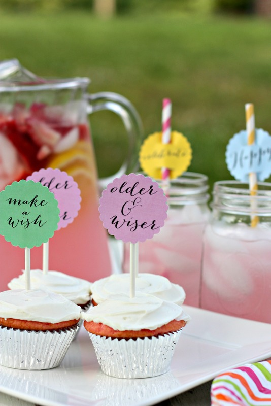Summer Birthday Celebration Cupcake and Drink Toppers