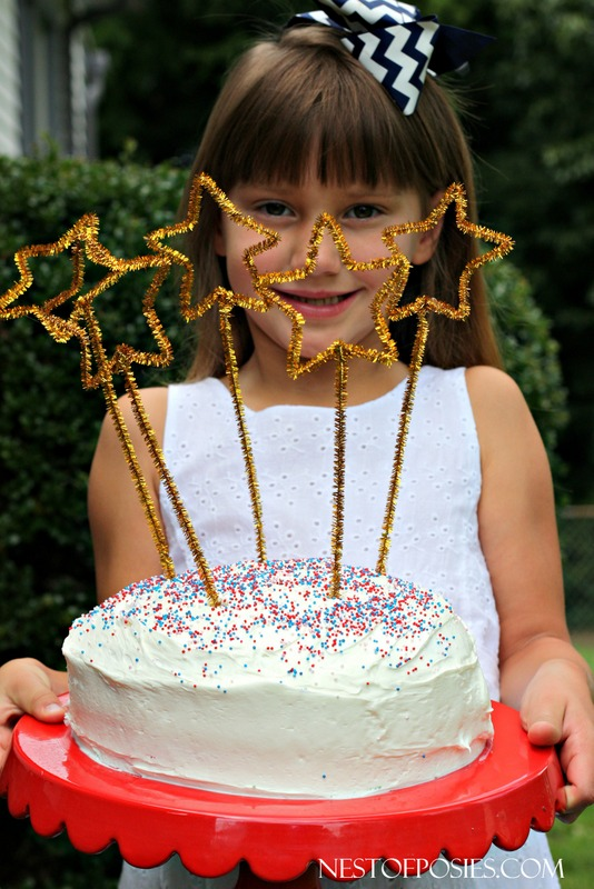 Fun project for the kids!  July 4th pipe cleaner cake toppers