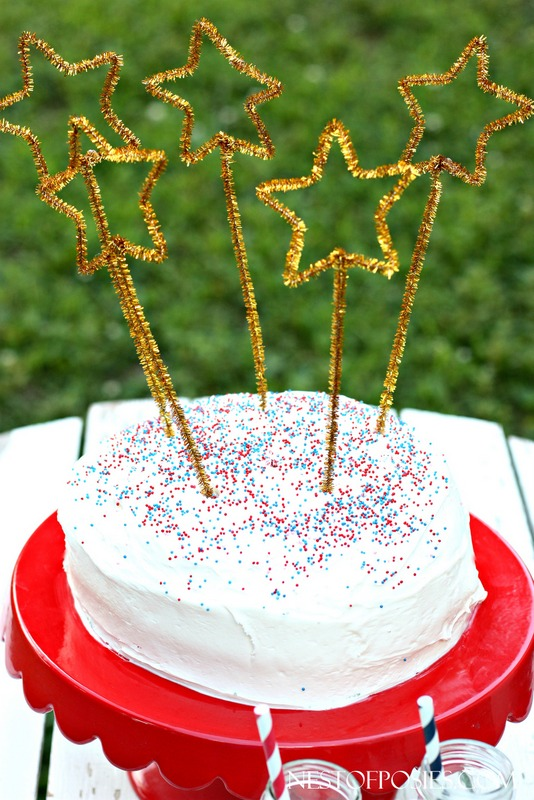 Pipe Cleaner Star Cake Toppers