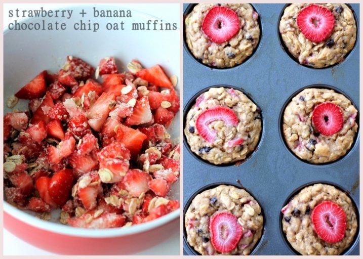 Strawberry Yogurt Chocolate Chip Oat Muffins