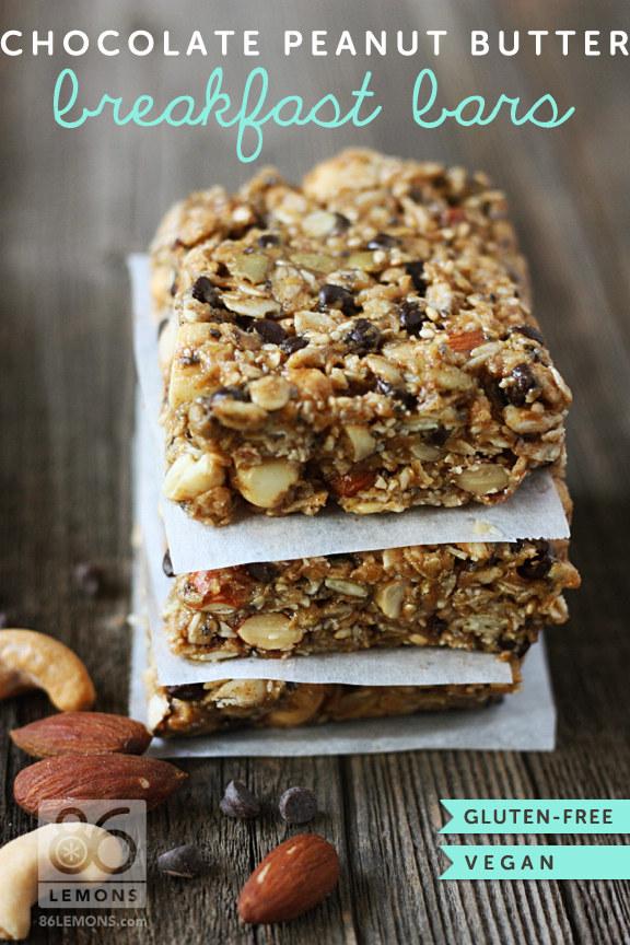 Chocolate Peanut Butter Breakfast Bars