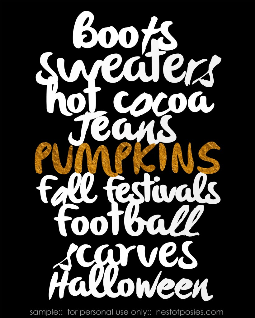 Fall Favorites Printable in Black