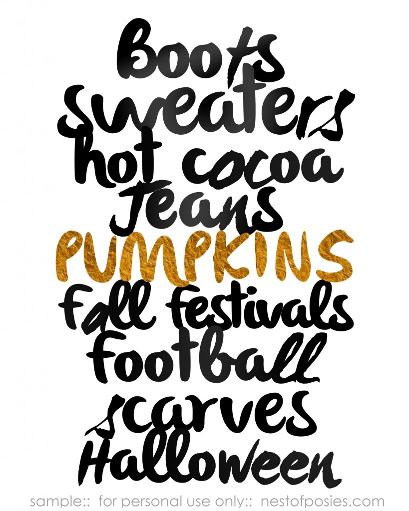 Fall Favorites Printable in WHITE
