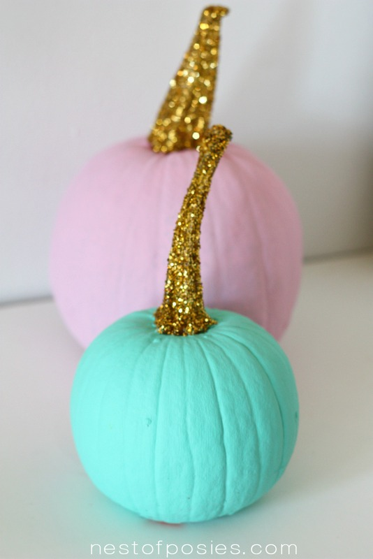 Painted Pumpkins with Gold Sequins Stems