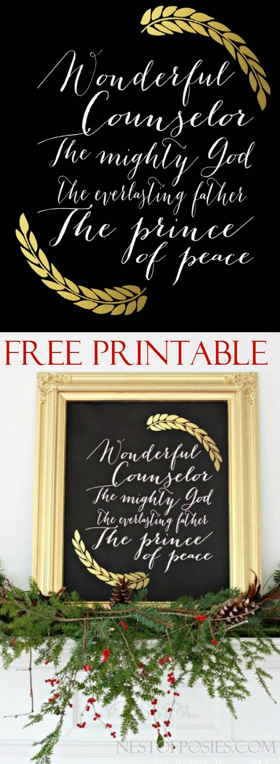 Free Christmas Printable Download.  Available in 8x10, 11x14 and 20x16 Isaiah 9-6 The names of Jesus