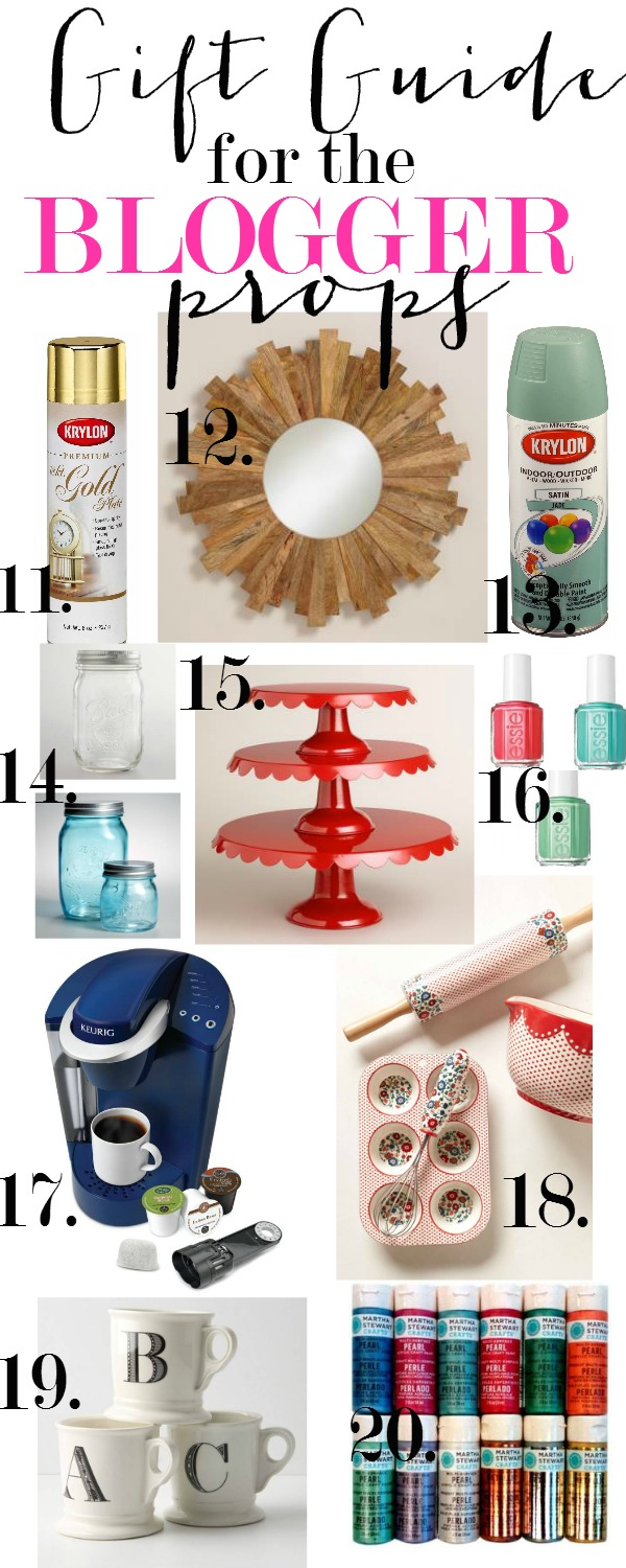 Gift Guide for the Blogger.  Props, crafts and staging goods.