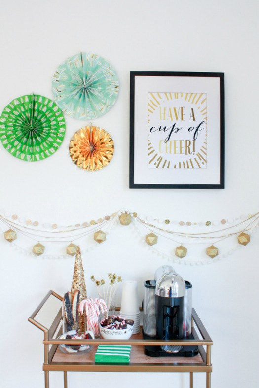Make a festive coffee cart station for the holidays and your guests.  Plus a free printable in black and gold!