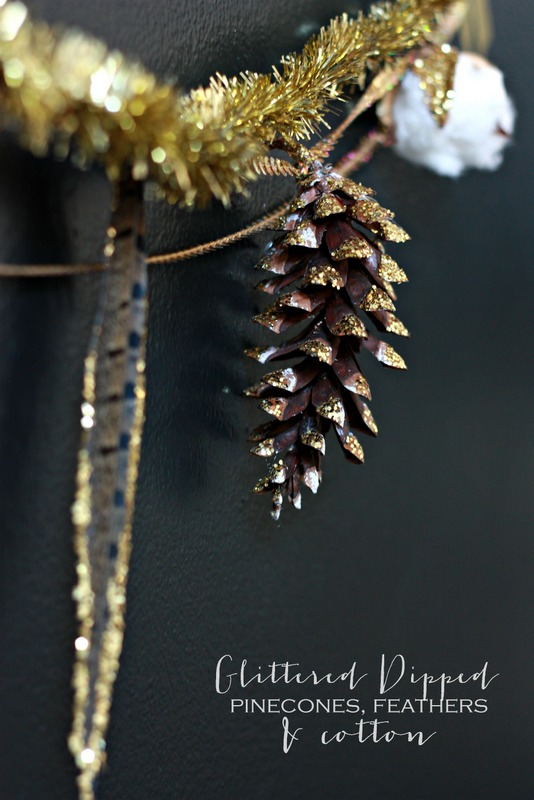 Glittered Dipped Ornaments or Garland.  So easy to make and for just a few dollars